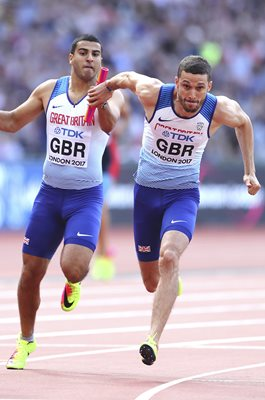 Adam Gemili to Daniel Talbot Great Britain 4x100m Relay London 2017