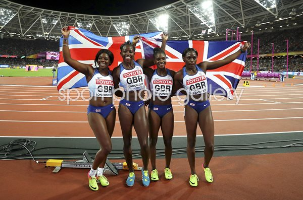 Great Britain Women's 4x100m Relay Silver World Athletics London 2017