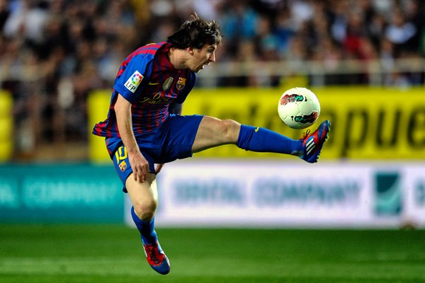 Lionel Messi of FC Barcelona controls the ball