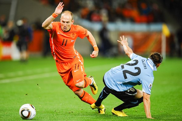 Arjen Robben on the attack for Holland