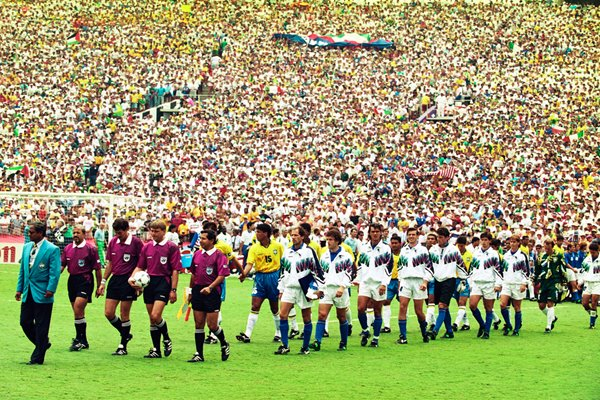 Brazil vs Italy walk onto the field before the final 1994