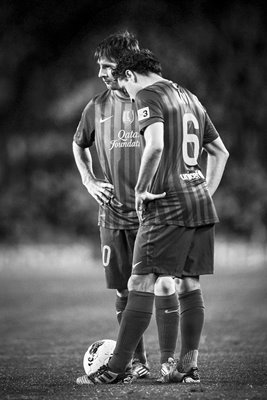 Lionel Messi and Xavi Hernandez Barcelona B&W