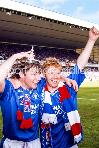 Ally McCoist & Mo Johnston Rangers Scottish Champions 1991