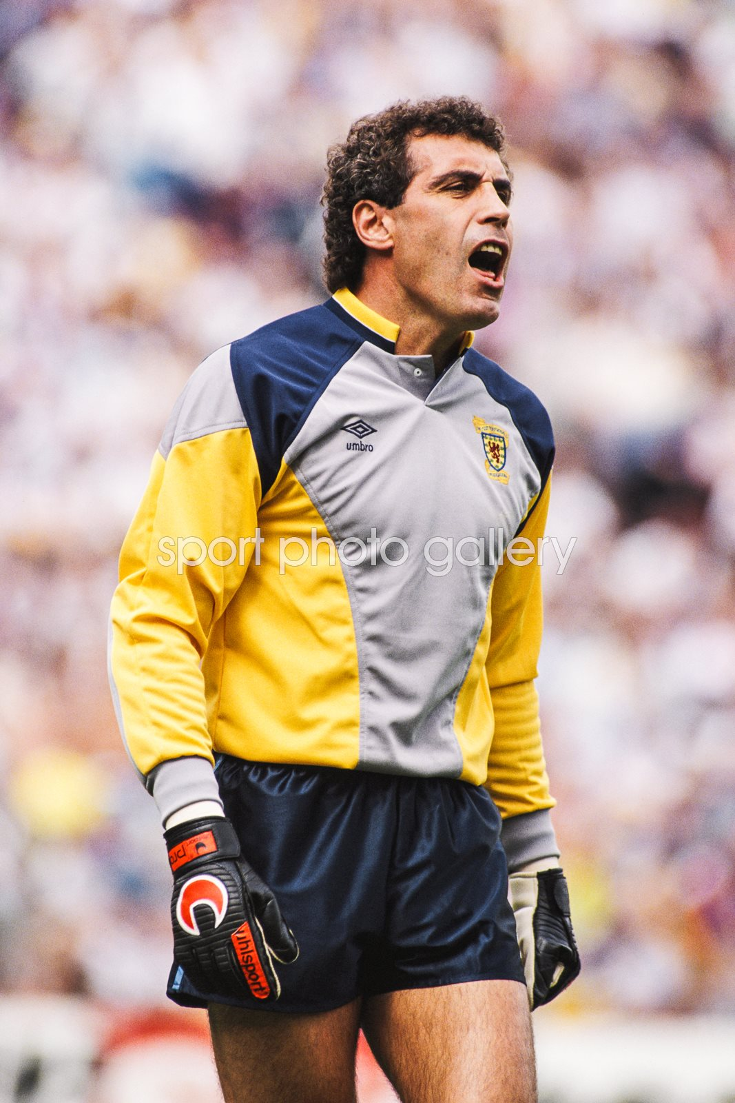 Peter Shilton England goalkeeper wearing a Scotland jersey 1989