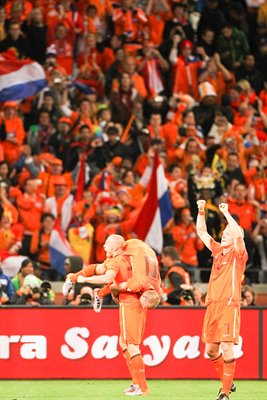 Dutch players and fans celebrate