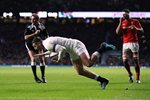 Jonny May England scores v Wales Twickenham Six Nations 2018 Prints