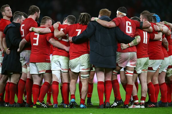 Wales Team Huddle Twickenham Six Nations 2018