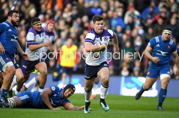 Huw Jones Scotland scores v France Murrayfield Six Nations 2018
