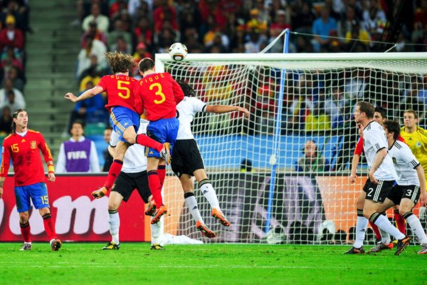 Carles Puyol of Spain scores v Germany