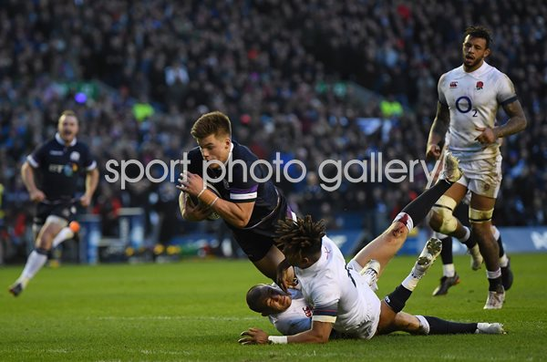 Huw Jones Scotland scores v England Murrayfield 6 Nations 2018