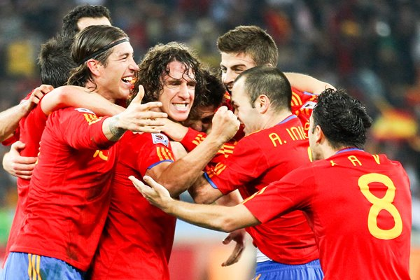 Spanish players celebrate the goal v Germany