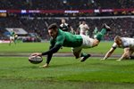 Jacob Stockdale Ireland scores v England 6 Nations Twickenham 2018 Prints