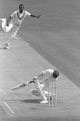 Malcolm Marshall West Indies v Andy Lloyd England Edgbaston 1984