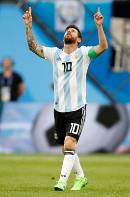 Lionel Messi Argentina celebrates v Nigeria World Cup 2018