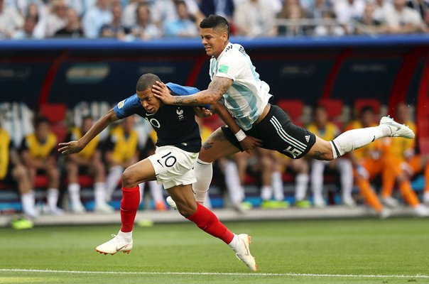 Kylian Mbappe & Marcos Rojo France v Argentina World Cup 2018