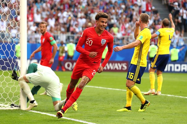 Dele Alli England scores v Sweden Quarter Final World Cup 2018