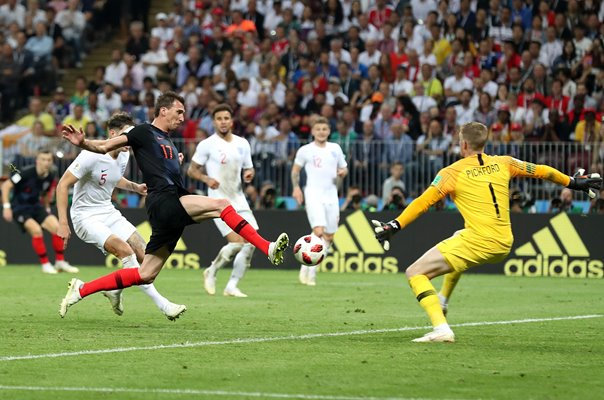 Josip Pivaric Croatia v Jordan Pickford England World Cup 2018
