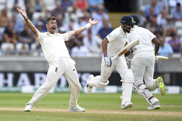 James Anderson Appeals England v India 1st Test Day Two