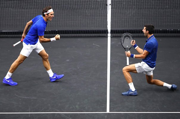 Roger Federer & Novak Djokovic Team Europe Doubles Laver Cup 2018