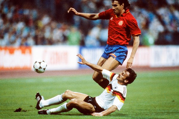 Julio Salinas & Jurgen Kohler - West Germany v Spain - Euro '88