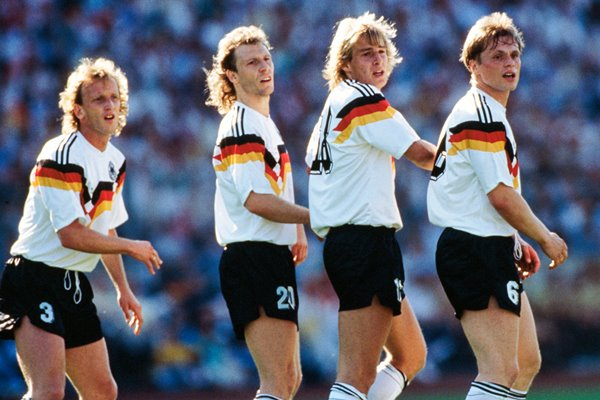 Brehme, Rolff, Klinsmann and Borowka line up - Euro 1988