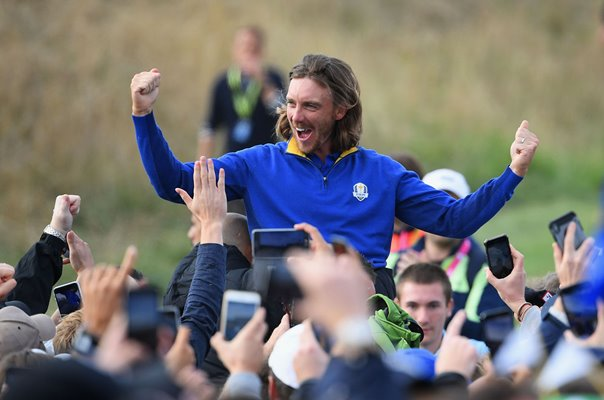 Tommy Fleetwood Europe 2018 Ryder Cup Celebrations