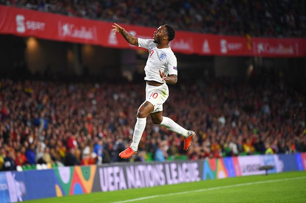 Raheem Sterling England celebrates v Spain Nations League 2018