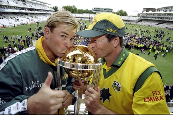 Shane Warne & Steve Waugh Australia World Champions Lords 1999