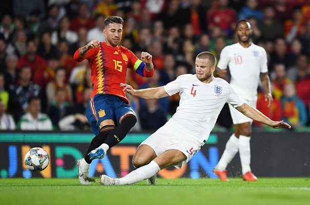 Eric Dier England tackles Sergio Ramos Spain Seville 2018