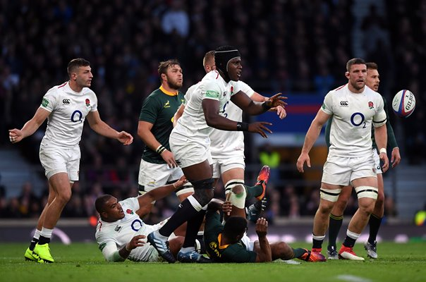 Maro Itoje England action v South Africa Twickenham 2018