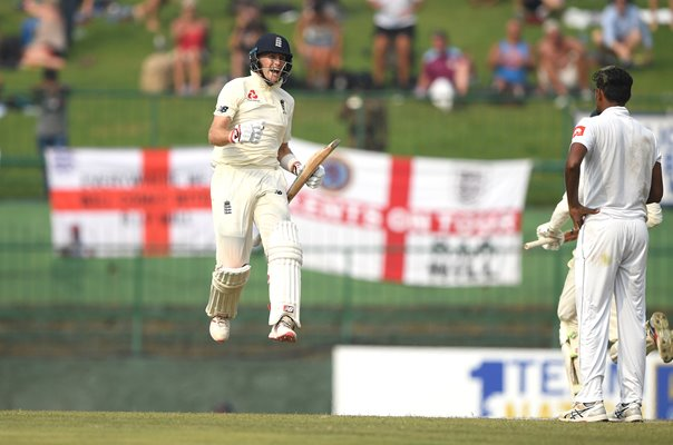 Joe Root England celebrates v Sri Lanka Kandy 2018