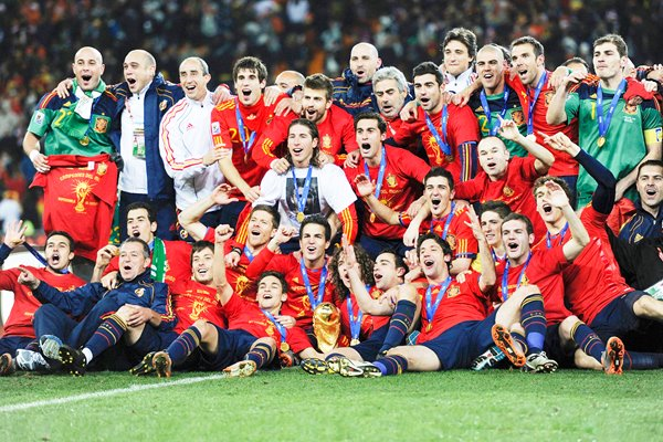 The Spain team celebrate with the World Cup