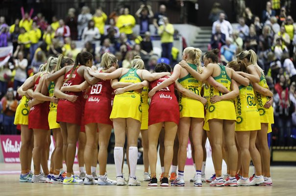 England & Australia Post Match Huddle Netball International Series 2019