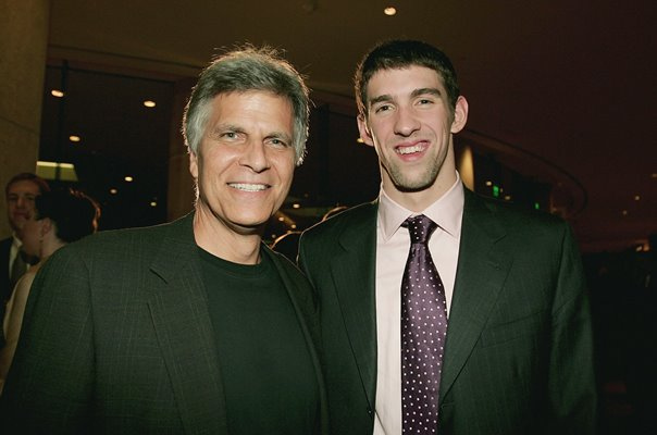 Mark Spitz & Michael Phelps Swimming Legends Los Angeles 2006