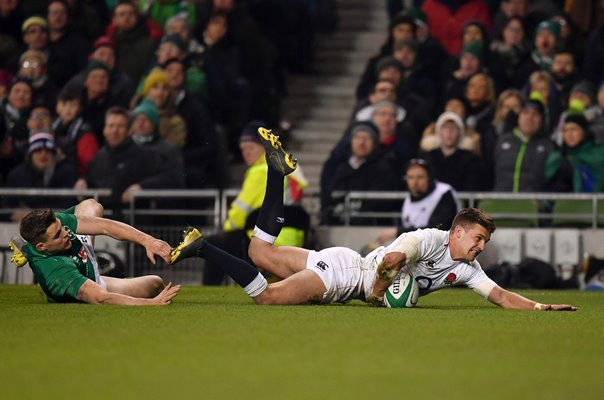 Henry Slade England try v Ireland Dublin Six Nations 2019