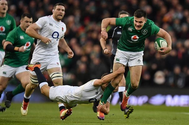 Jacob Stockdale Ireland tackled by Ben Youngs England 2019