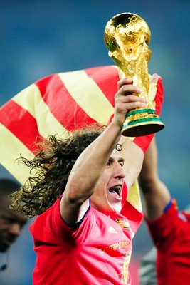 2010 World Cup Carles Puyol lifts the trophy