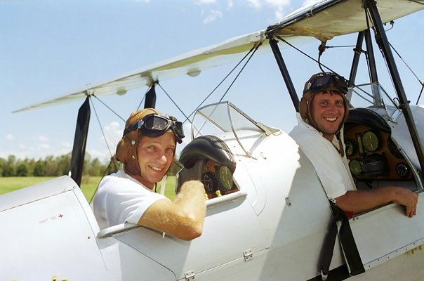 David Gower & John Morris Tiger Moth Plane Flight Ashes Tour 1991
