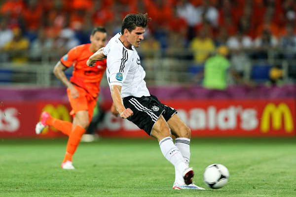 Mario Gomez scores Germany v Holland EURO 2012