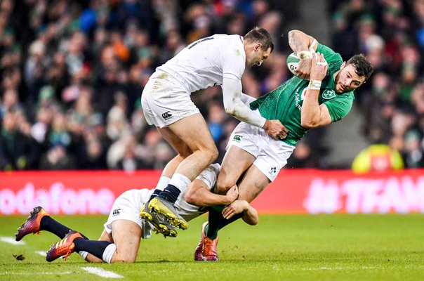 Jonny May & Ben Youngs England tackle Robbie Henshaw Ireland 2019