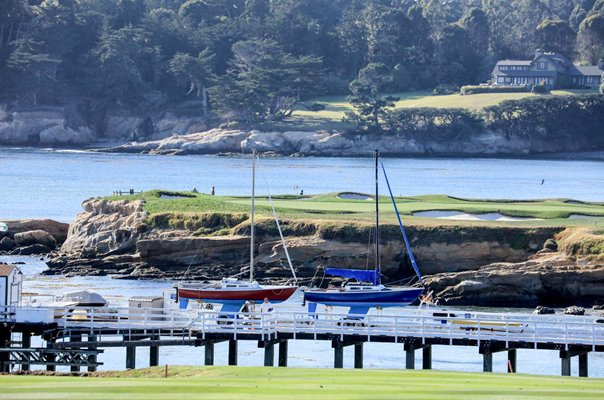 Pebble Beach Golf Links 17th Green from 4th Hole California USA
