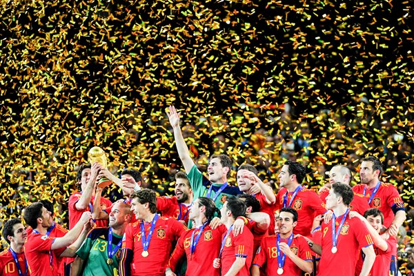 Spain team celebrate winning the World Cup