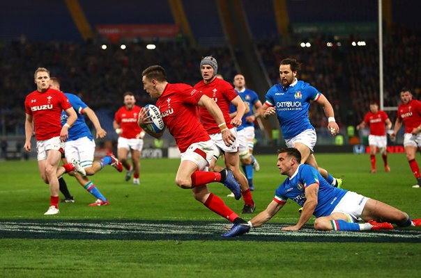 Josh Adams Wales scores v Italy Rome Six Nations 2019