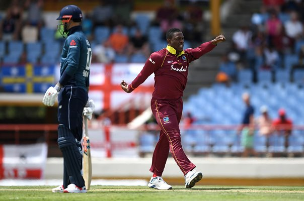Sheldon Cottrell West Indies Wicket Celebration v England St Lucia 2019
