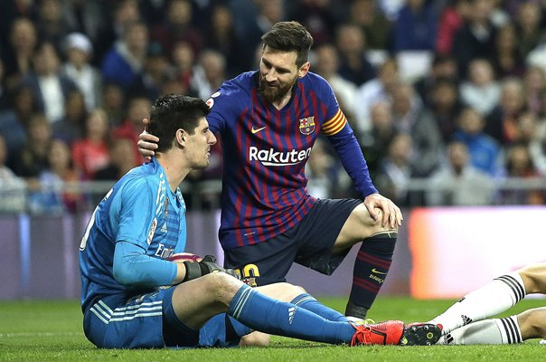 Lionel Messi Barcelona & Thibaut Courtois Real Madrid La Liga 2019