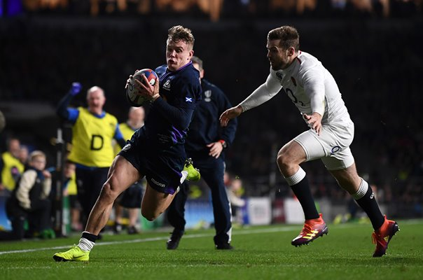 Darcy Graham Scotland scores v England Twickenham 6 Nations 2019