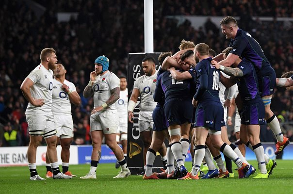 Scotland celebrate Sam Johnson try v England Twickenham 2019