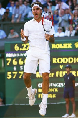 Roger Federer Winning Moment Wimbledon Final 2009