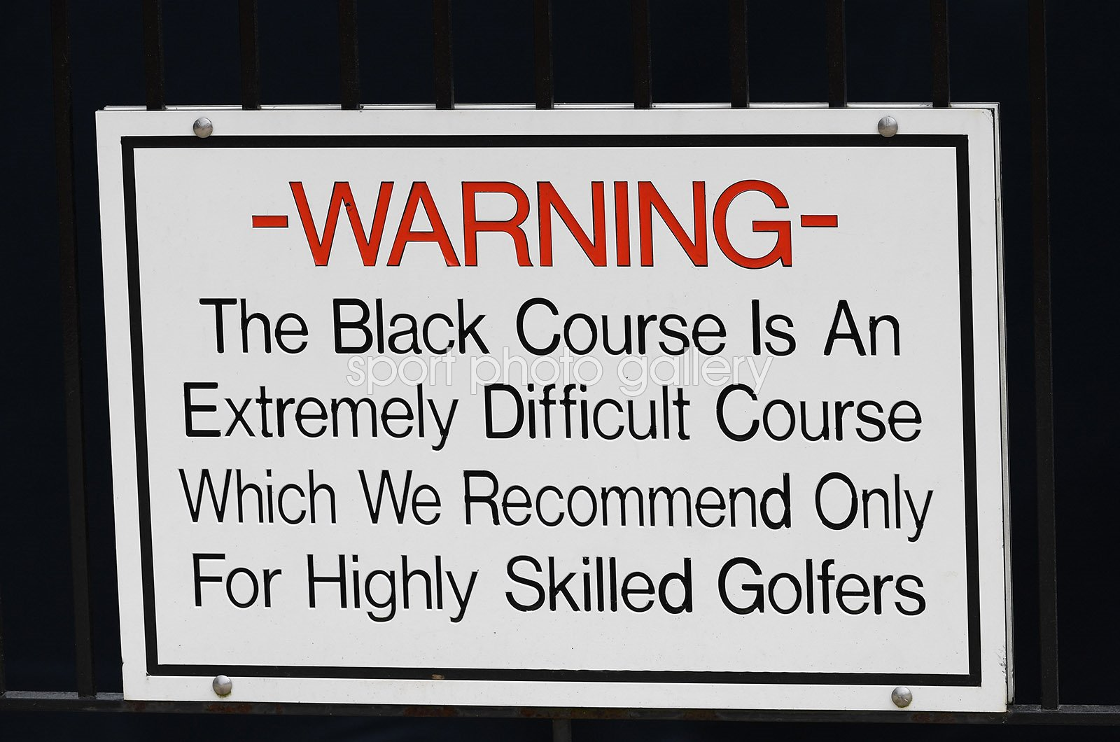 Bethpage Black Course Warning Sign USPGA New York 2019