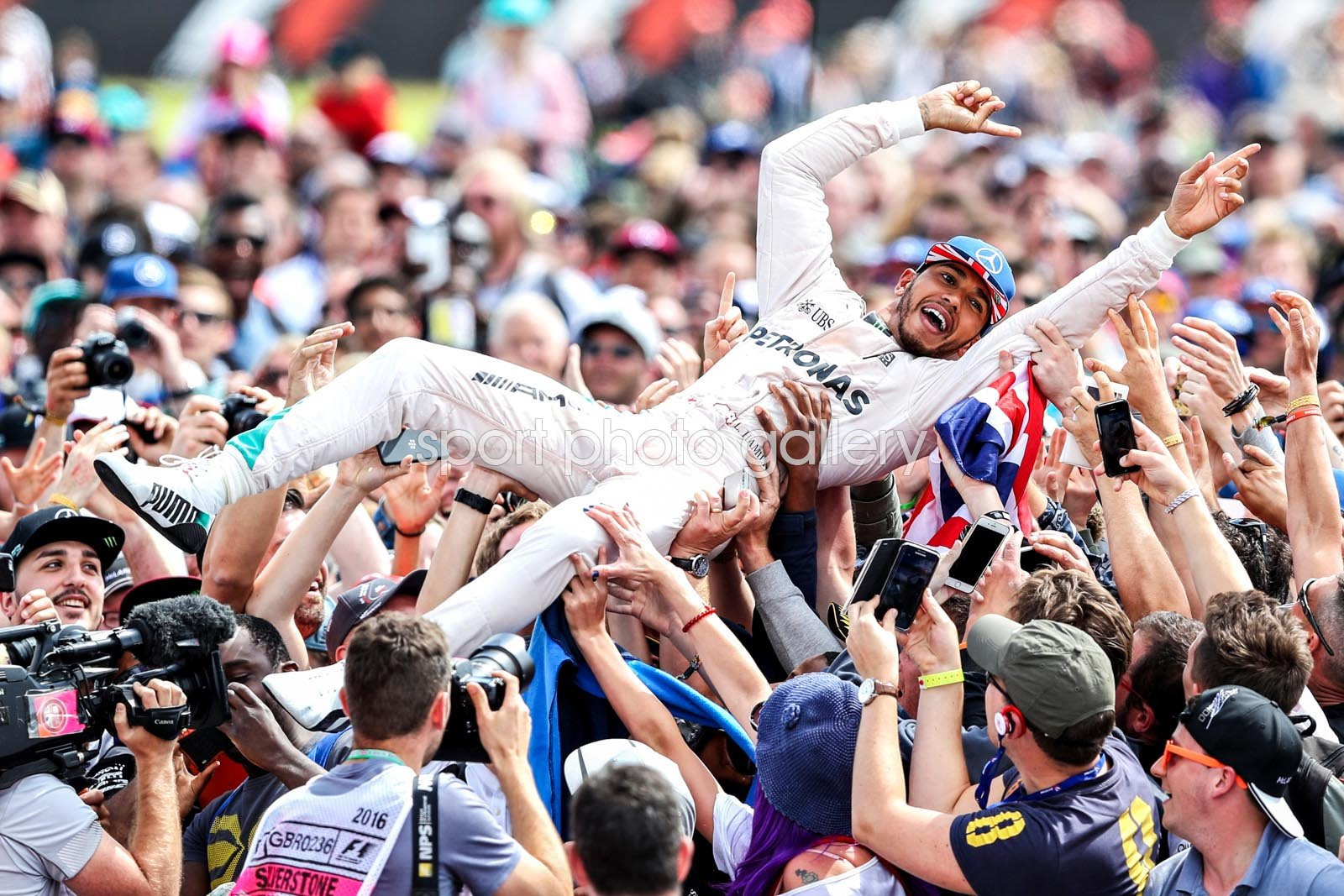 Lewis Hamilton Great Britain & Mercedes Crowd Celebration Silverstone 2016